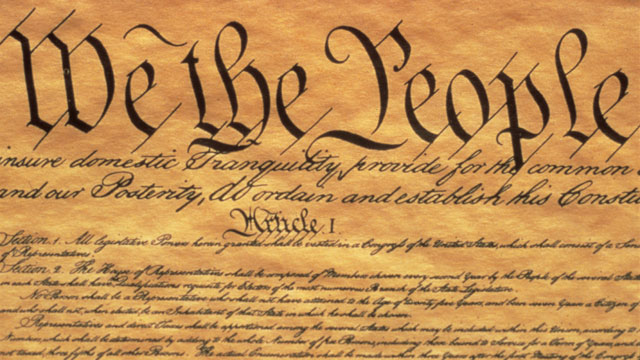 "PHOTO: The Preamble to the US Constitution starts with the phrase ""We The People"" and shows only some of the writing from the upper left hand corner of the document of the Constitution."