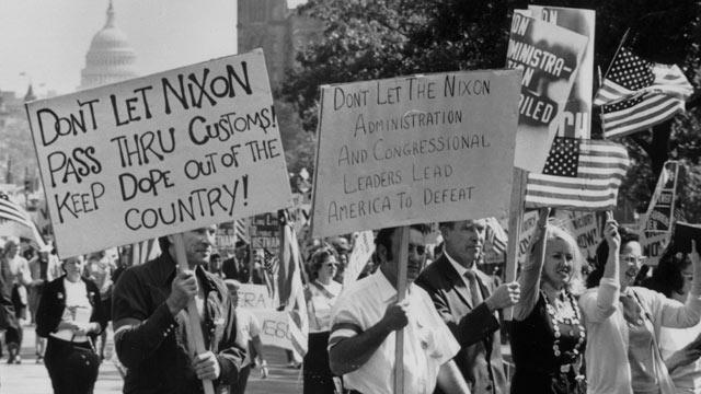 PHOTO: Demonstrators on a Vietnam victory march down Pennsylvania Avenue, Washington D.C. on March 10, 1970.