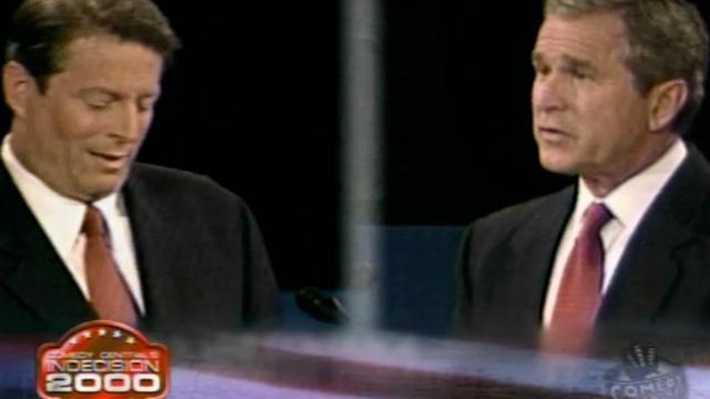 PHOTO: Al Gore and George Bush debate