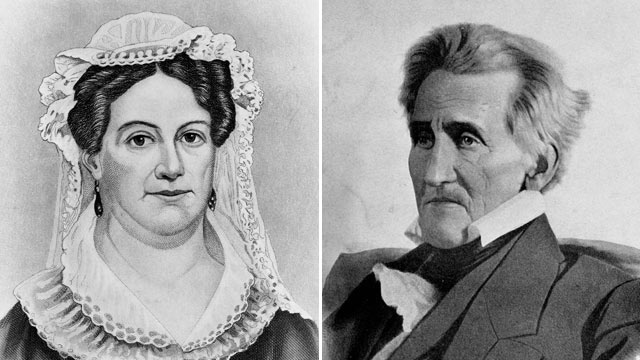 PHOTO: Mrs. Andrew Jackson, bust portrait, circa 1883; President Andrew Jackson, the 7th president on the U.S. is shown in an undated portrait.