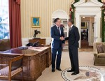 PHOTO: Mitt Romney and Barack Obama in Oval Office