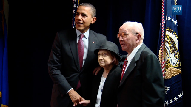 PHOTO: President Obama and Wilbur and Theresa Faiss