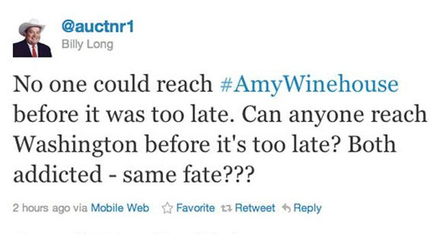 PHOTO: Billy Long tweeted this controversial tweet comparing Amy Winehouse and the debt ceiling negotiations.