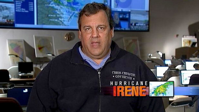 "PHOTO: As Hurricane Irene hits the Northeast, New Jersey Governor Chris Christie is interviewed on ""This Week."""