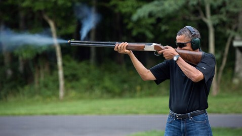 ht flickr barack obama shoots clay targets jt 130202 wblog White House Photo Shows Obama Firing Shotgun
