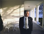 PHOTO: President George W. Bush appears pensive as he walks across the  Colonnade to the Oval Office Friday morning, Feb. 15, 2002.