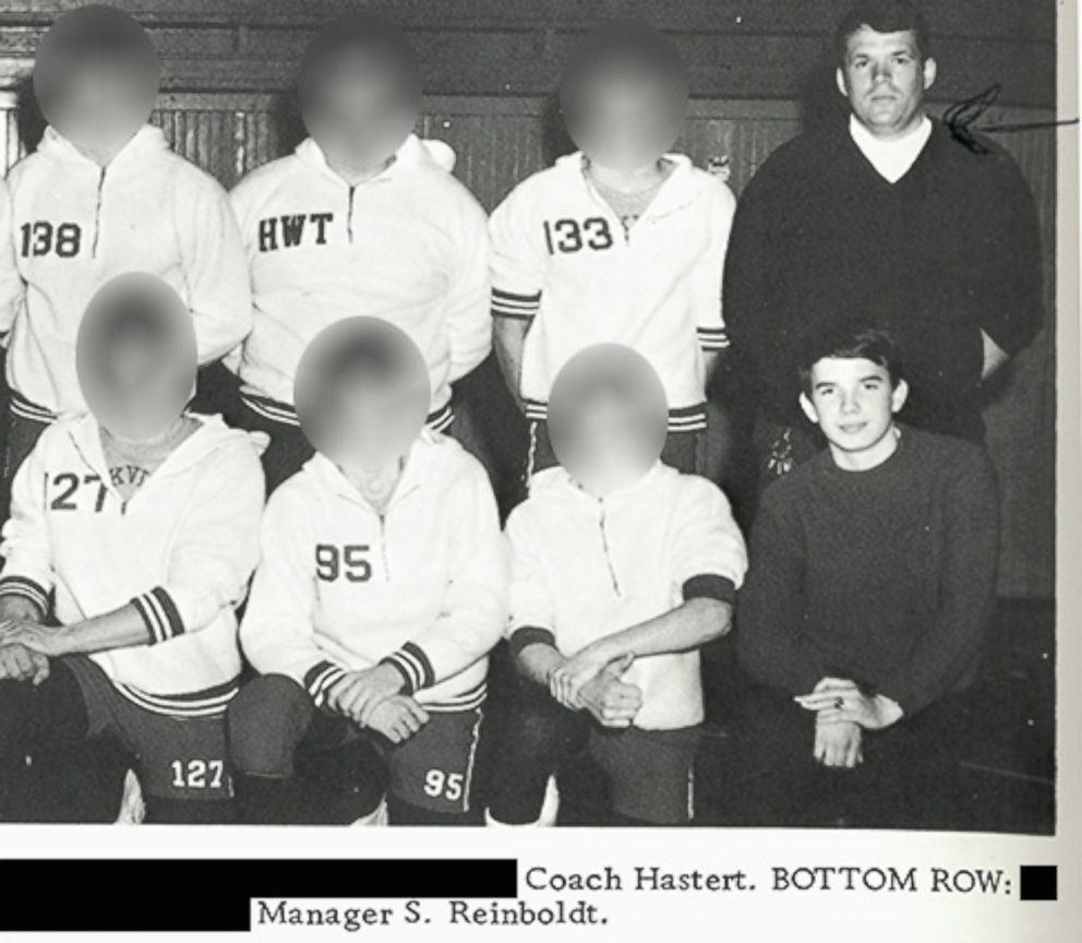 PHOTO: Dennis Hastert, top right, and Steve Reinboldt, bottom right, shown in the 1970 Yorkville High School yearbook wrestling team photo.