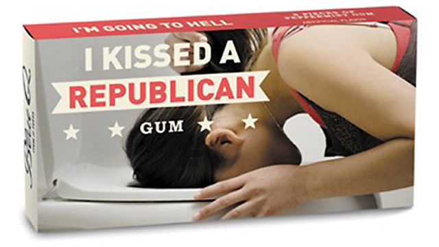 PHOTO: I Kissed a Republican chewing gum is available at the Onion store.