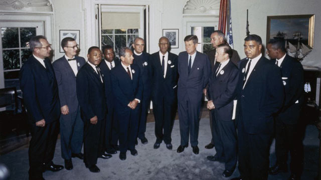 "PHOTO: Organizers of ""The March on Washington for Jobs and Freedom,"" including Martin Luther King Jr. and John Lewis, meet with President Kennedy and Vice President Lyndon Johnson in the Oval Office on Aug. 28, 1963."