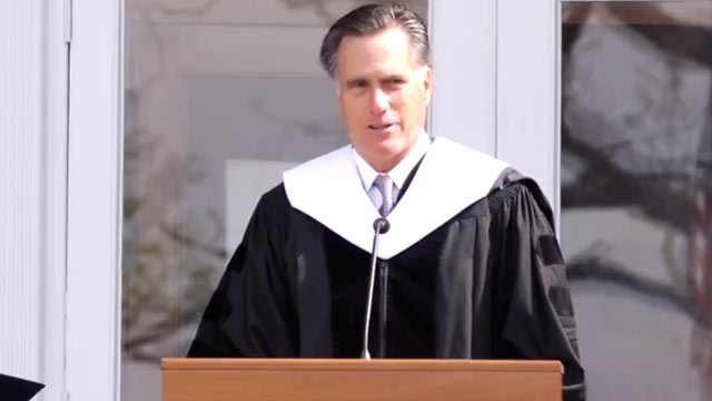 PHOTO: Mitt Romney delivers the commencement address at Southern Virginia University.