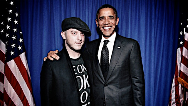 PHOTO: DJ Adam 12 meets Barack Obama for the first time at the House of Blues in Los Angeles, Sep 26, 2011.
