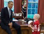 PHOTO: President Barack Obama greets Jack Hoffman, 7, of Atkinson, Neb., in the Oval Office, April 29, 2013.