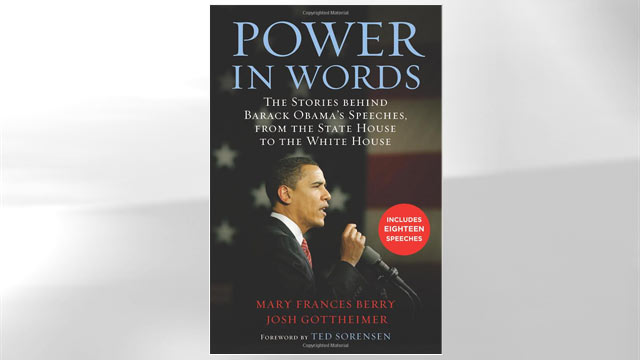 """PHOTO: The cover of Josh Gottheimer's and Mary Frances Berry's book """"Power in Words: The Stories behind Barack Obama's Speeches,"""" is shown here."""