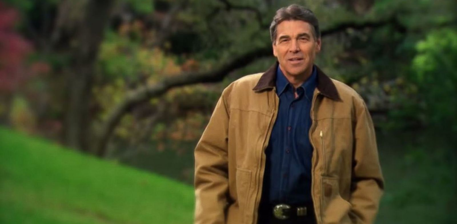 "PHOTO: Rick Perry appears in his ""Strong"" advertisement, which debuted on his official YouTube account Dec 6, 2011."