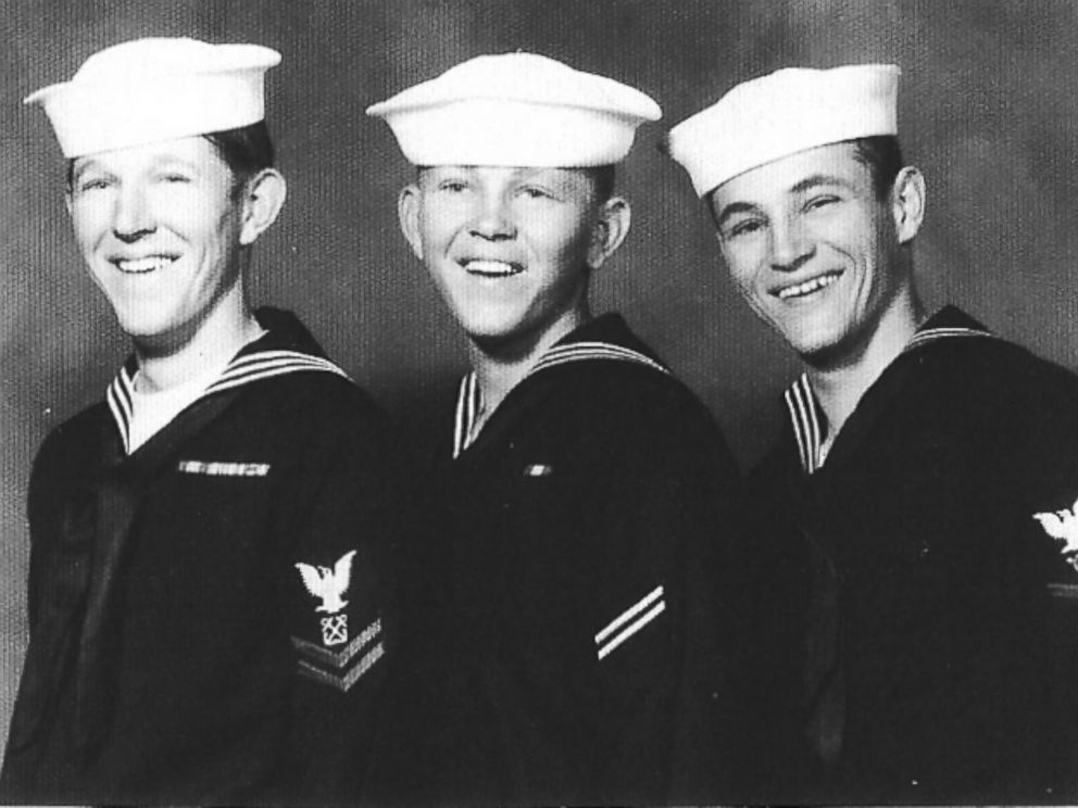 PHOTO: Gary, Kelly Jo and Gregory Sage are photographed in uniform just before their departure to the USS Frank E. Evans. The three brothers served together on the ship.
