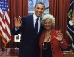 PHOTO: Star Trek actress, Nichelle Nichols posts this image, on twitter of herself and President Obama in the Oval Office, Feb. 29, 2012.
