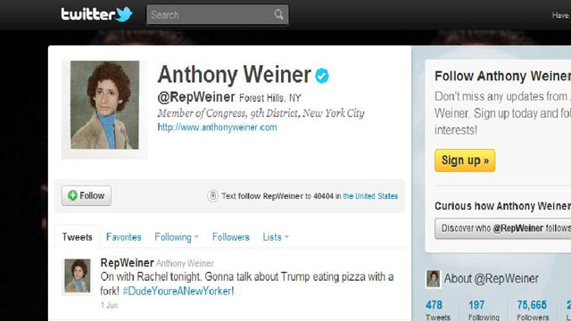 PHOTO: Rep. Anthony Weiners twitter profile page.
