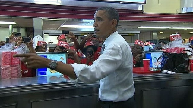 VIDEO: After stopping for ice cream on Monday, the president opted for hot dogs Tuesday