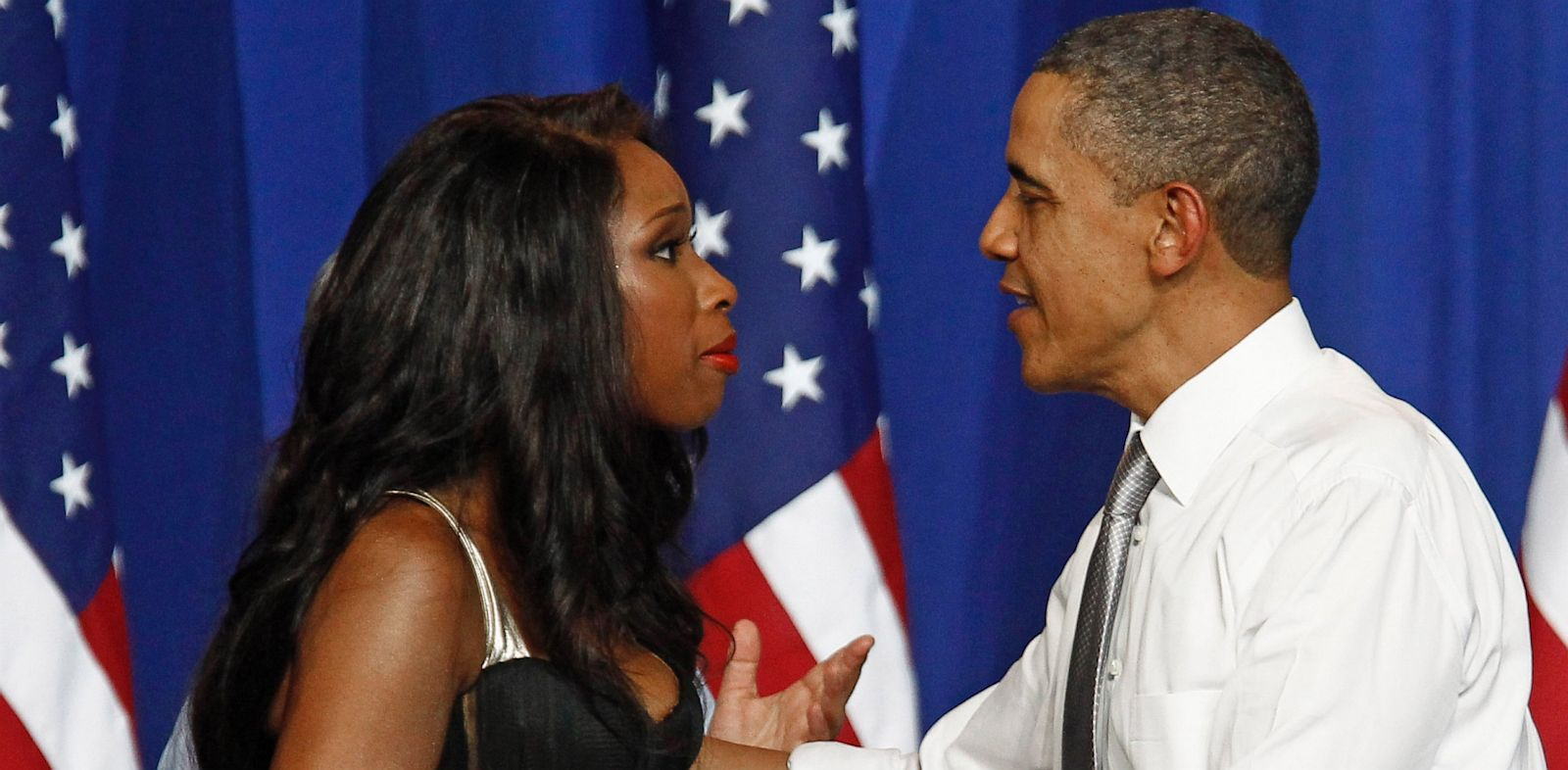PHOTO: President Barack Obama is greeted by singer Jennifer Hudson at a Democratic National Committee event at the Aragon Entertainment Center in Chicago, in this Aug. 3, 2011 photo.