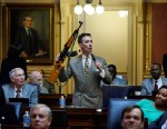 PHOTO: Del. Joseph D. Morrissey, D-Henrico, held up an assault rifle during a floor speech to the Virginia House of Delegates, Jan. 17, 2013.