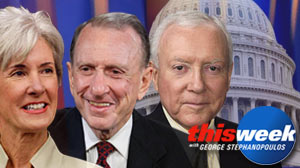 "Photo: Kathleen Sebelius, Arlen Specter and Orrin Hatch on ""This Week with George Stephanopoulos"""