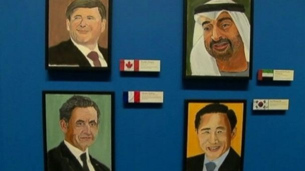 The paintings are on display at the George W. Bush Presidential Library and Museum in Dallas.