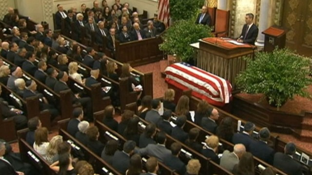 VIDEO: Politicians and family remember the New Jersey Democrat at a synagogue in New York.