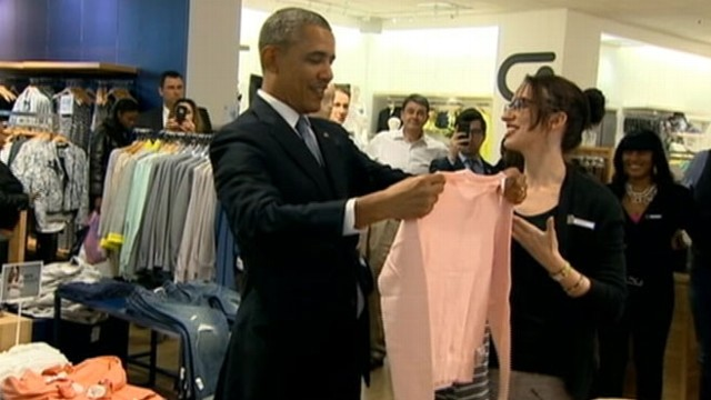 VIDEO: The president dropped by a Manhattan store in support of the companys decision to increase wages.