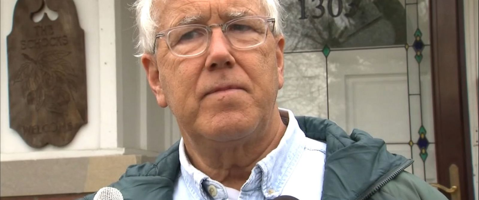 PHOTO: Dr. Richard Schock, father of Aaron Schock, is interviewed by WLS-TV.
