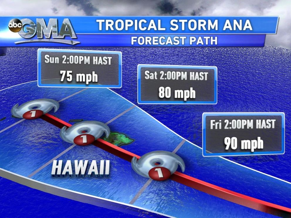 PHOTO: Forecast path for Tropical Storm Ana.
