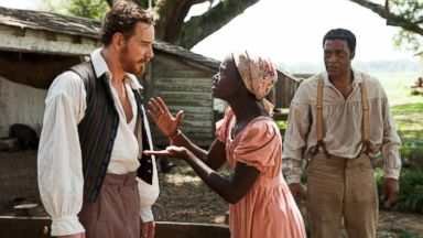 "PHOTO: Michael Fassbender, left, Lupita Nyongo and Chiwetel Ejofor in a scene from ""12 Years A Slave."""