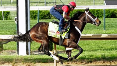 PHOTO: Regular exercise rider Bryan Beccia rides Kentucky Derby hopeful Ride On Curlin during a workout over the track at Churchill Downs in Louisville, Ky., April 27, 2014.