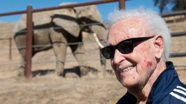 "PHOTO: Former ""Price Is Right"" host and animal activist Bob Barker welcomes three new elephants to the Performing Animal Welfare Societys ARK 2000 sanctuary in San Andreas, Calif., Oct. 21, 2013."