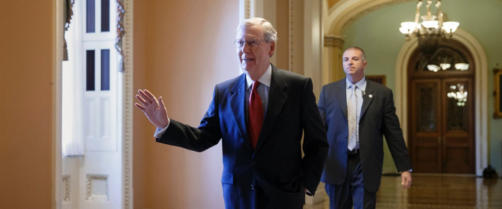 PHOTO: Senate Minority Leader Mitch McConnell of Ky. walks to his office on Capitol Hill in Washington, Nov. 12, 2014, to meet with new GOP senators-elect.