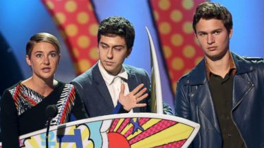 "PHOTO: From left, Shailene Woodley, Nat Wolff and Ansel Elgort accept an award for ""?The Fault In Our Stars""? at the Teen Choice Awards at the Shrine Auditorium on Aug. 10, 2014, in Los Angeles."