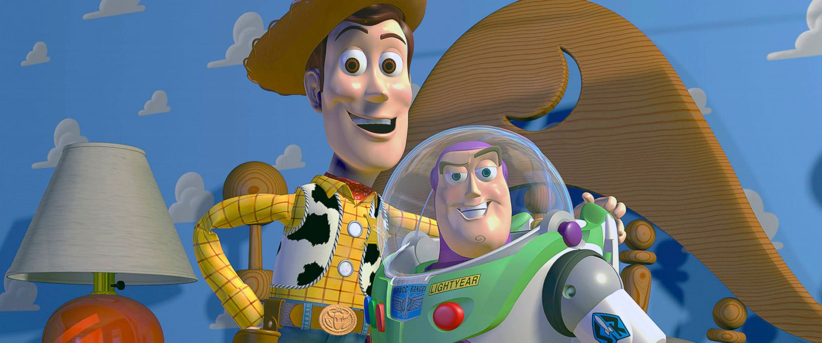 """PHOTO: Disney Pixar shows characters Woody, left, and Buzz Lightyear from the animated film """"Toy Story."""