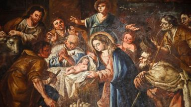 PHOTO: Nativity painting in Iglesia ex-conventual de Ntra. Sra del Carmen, Antequera, Andalucia, Spain.