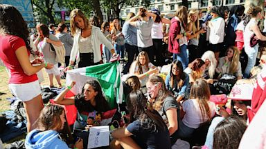 PHOTO: One Direction fans camp and take their positions in Leicester Square ahead of the premier to the bands new film, Aug. 20, 2013 in London.