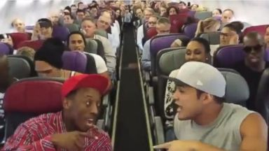 "PHOTO: In a video published April 1, 2014, ""The Lion King"" cast members sing the ""Circle of Life"" prior to taking off on their flight back to Sydney."