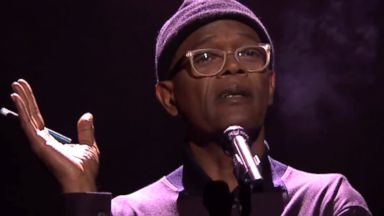 "PHOTO: Samuel L. Jackson Performs Slam Poem About ""Boy Meets World"" on The Late Show with Jimmy Fallon, April 1, 2014."