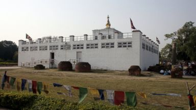 PHOTO: Visitors gather at the Maya Devi Temple in Lumbini, Nepal on April 17, 2013.
