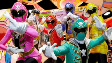 PHOTO: The Power Rangers pose at the Nickelodeon booth during the 2014 San Diego Comic-Con on July 25, 2014 in San Diego, Calif.
