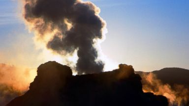 PHOTO: Castle Geyser erupts at Yellowstone National Park, Wyo., in this Oct. 2005 photo.