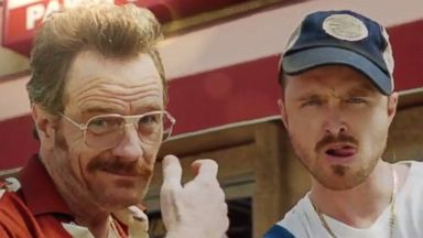 PHOTO: Bryan Cranston, left, and Aaron Paul, right, reunited in an Emmys promo with Julia Louis-Dreyfus.