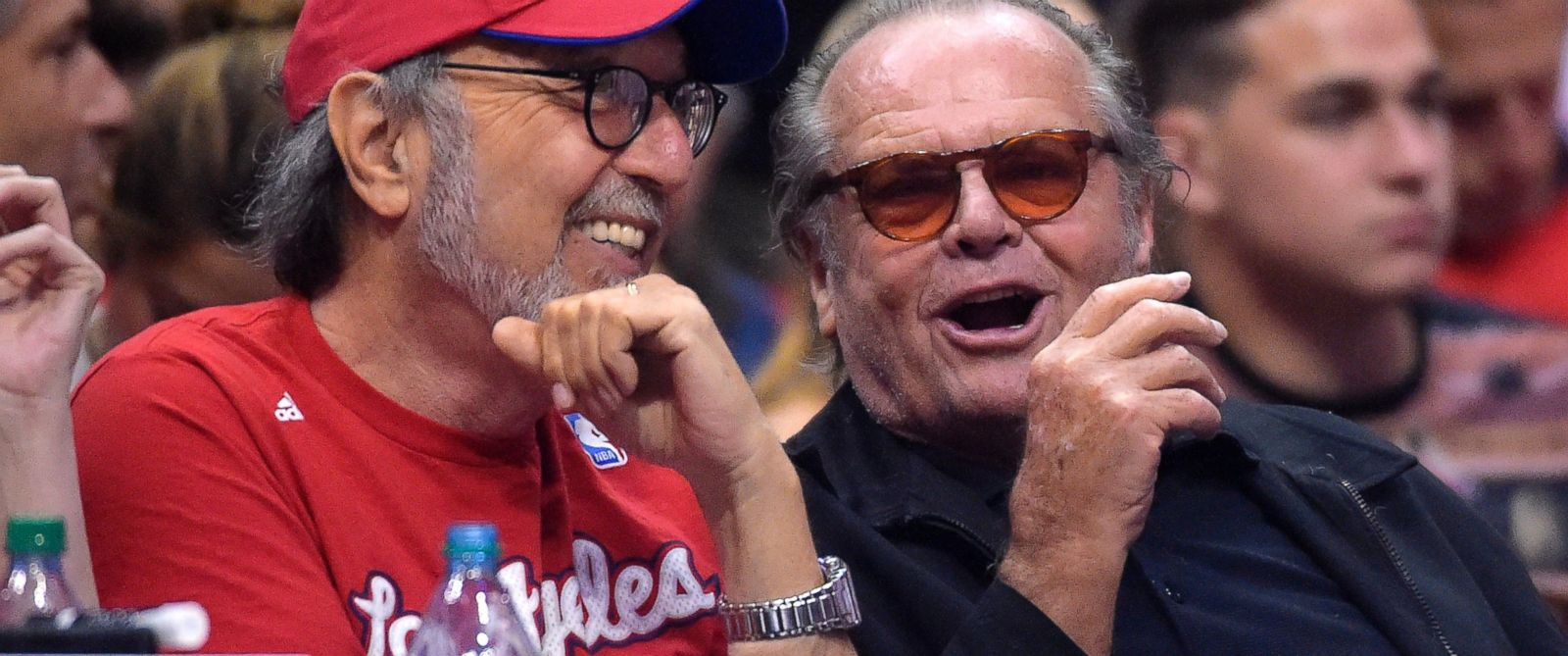 PHOTO: Actor Jack Nicholson, right, and producer James L. Brooks watch the Los Angeles Clippers play the Oklahoma City Thunder, May 15, 2014 in Los Angeles.