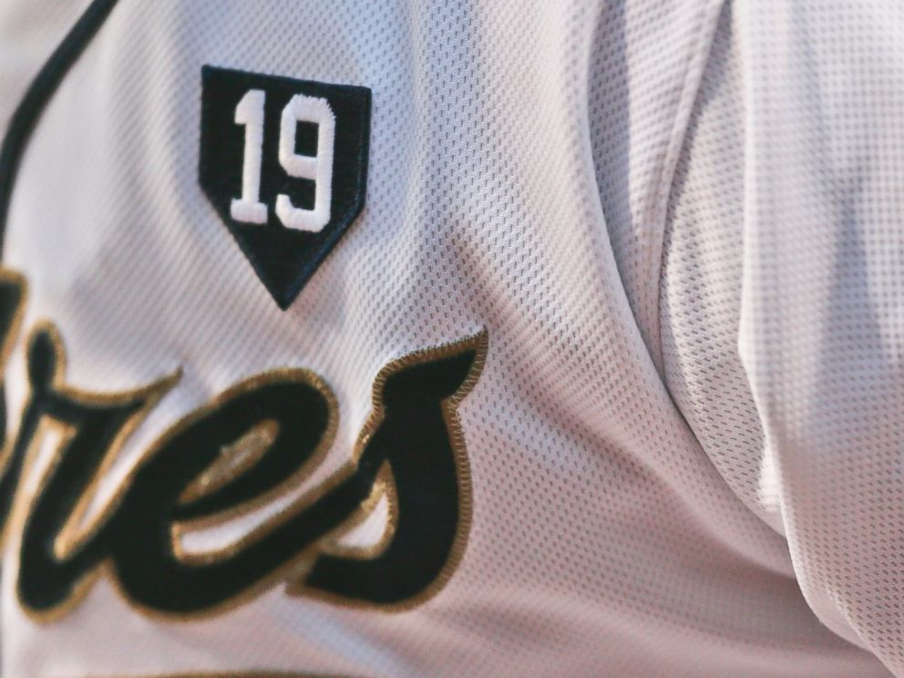 PHOTO: San Diego Padres players sport a patch on their uniforms in honor of Hall of Fame player Tony Gwynn, June 18, 2014, in San Diego.