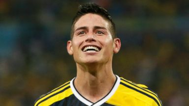 PHOTO: Colombias James Rodriguez celebrates after he scored his sides second goal during the World Cup round of 16 soccer match between Colombia and Uruguay at the Maracana Stadium in Rio de Janeiro, Brazil, Saturday, June 28, 2014.