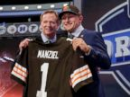 PHOTO: Texas A&M quarterback Johnny Manziel poses with NFL commissioner Roger Goodell after being selected by the Cleveland Browns as the 22nd pick in the first round of the 2014 NFL Draft, Thursday, May 8, 2014, in New York.