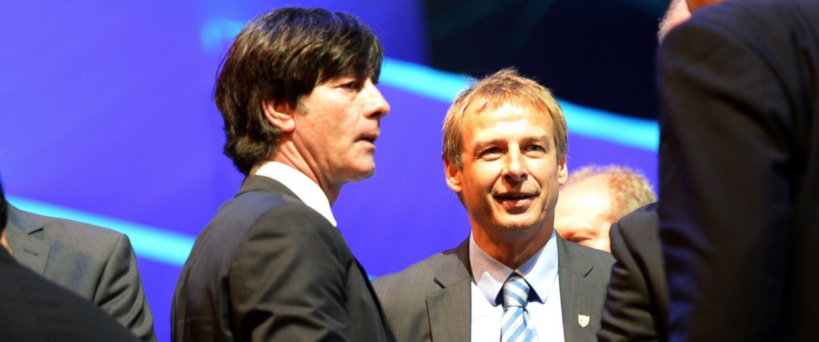 PHOTO: Head coach of Germany, Joachim Loew stands next to head coach of USA, German Jurgen Klinsmann, during the final draw of the preliminary round groups of the 2014 FIFA World Cup Brazil in Costa do Sauipe, Brazil, 06 December 2013.