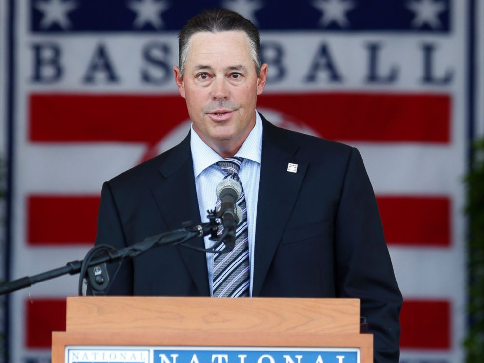 PHOTO: National Baseball Hall of Fame inductee Greg Maddux speaks during an induction ceremony at the Clark Sports Center, July 27, 2014, in Cooperstown, N.Y.